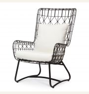 Capri Outdoor Wing Chair, Black
