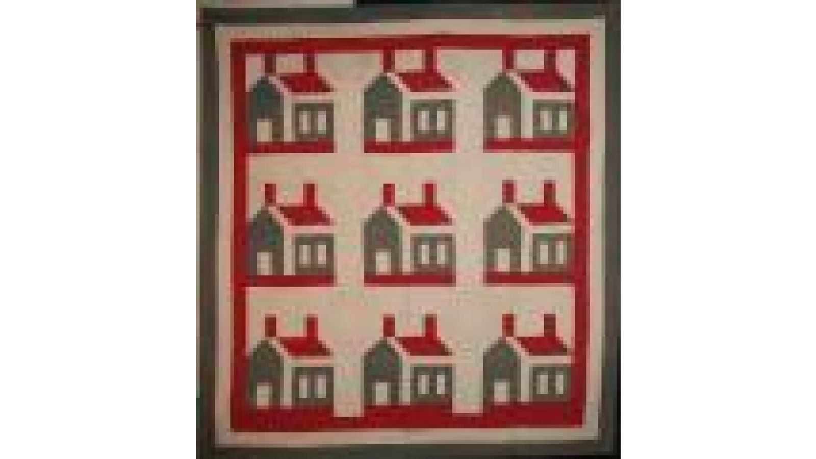 THIS OLD HOUSE QUILT red, green, white 1880s