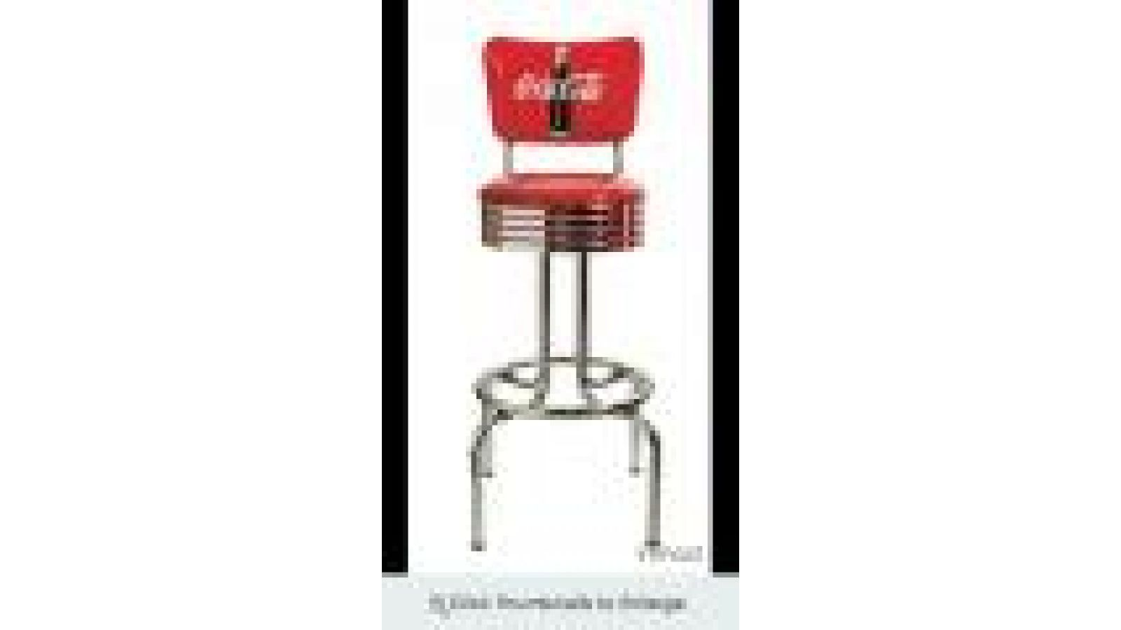Coke Red Disc Icon Stool (w/ back)
