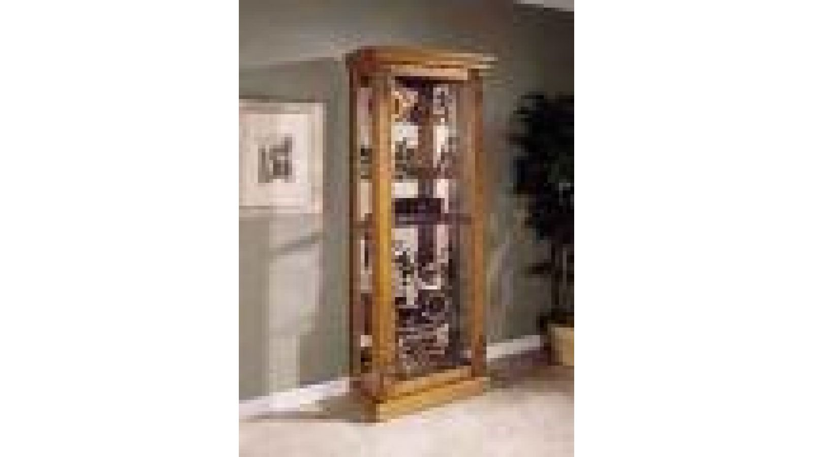 Golden Oak Sliding Door Curio