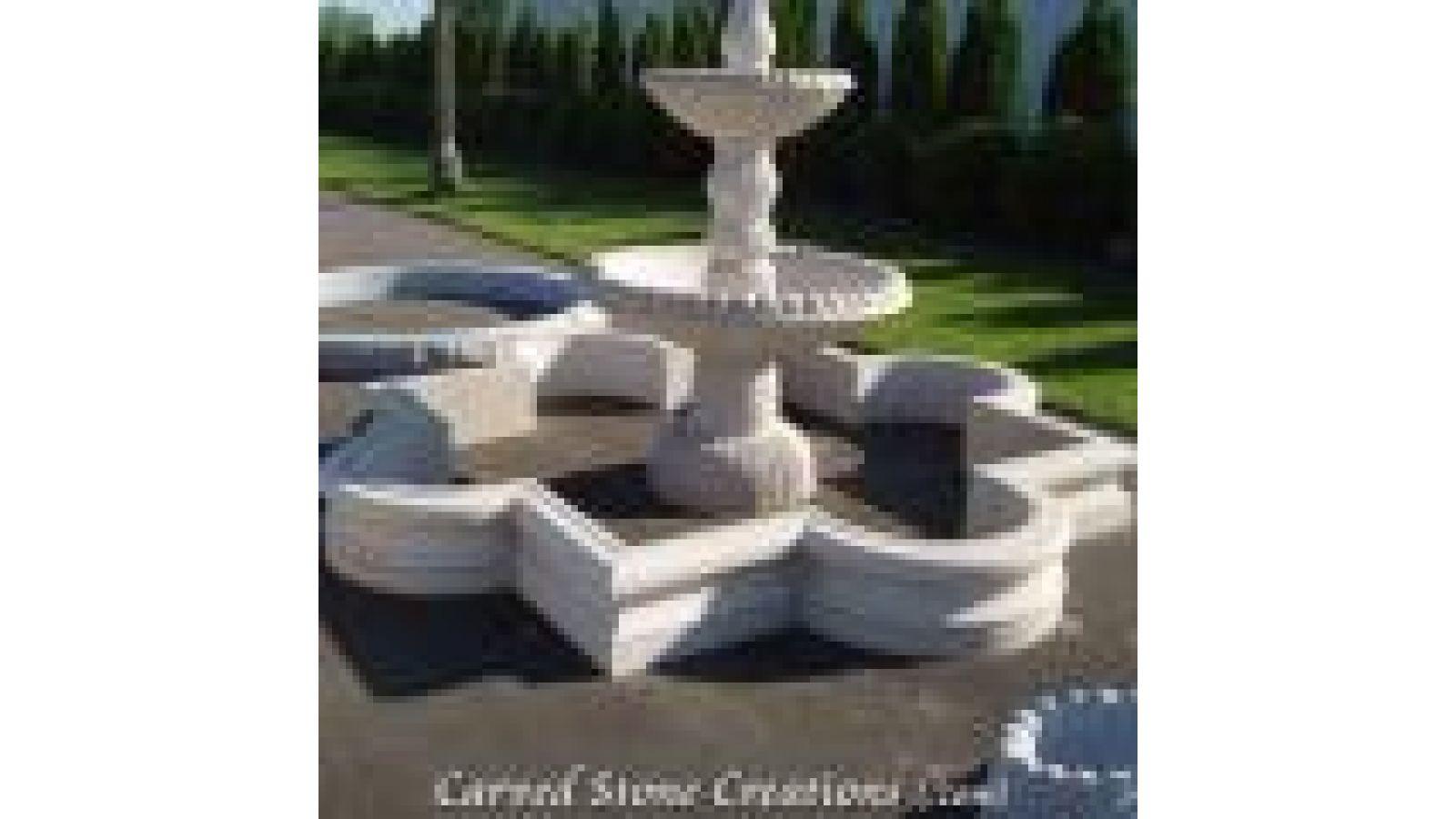 SUR-D120H12-Q01, Lowered Quartrefoil Granite Fountain Surround