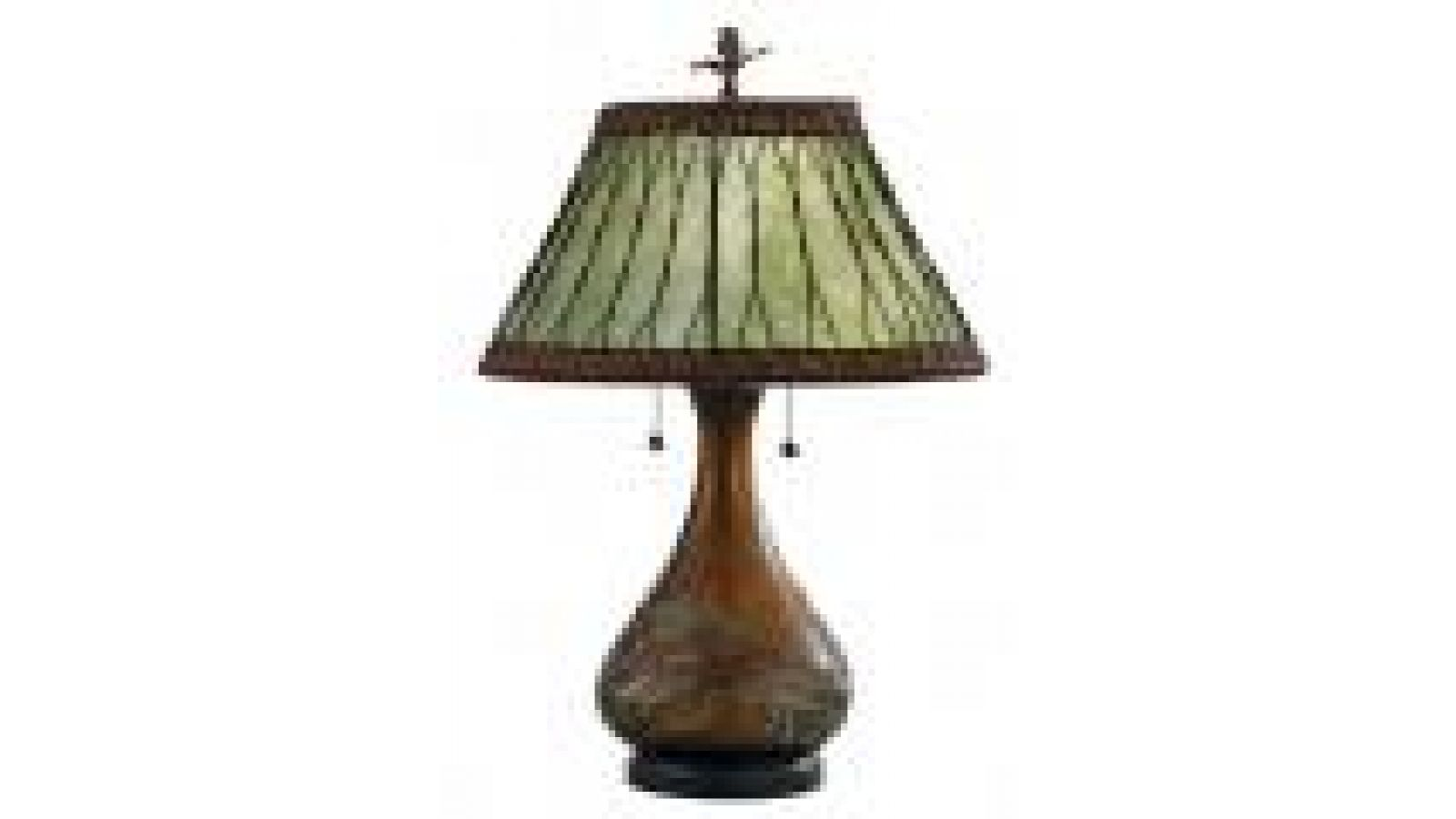 Americana Green Mica Carved Table Lamp