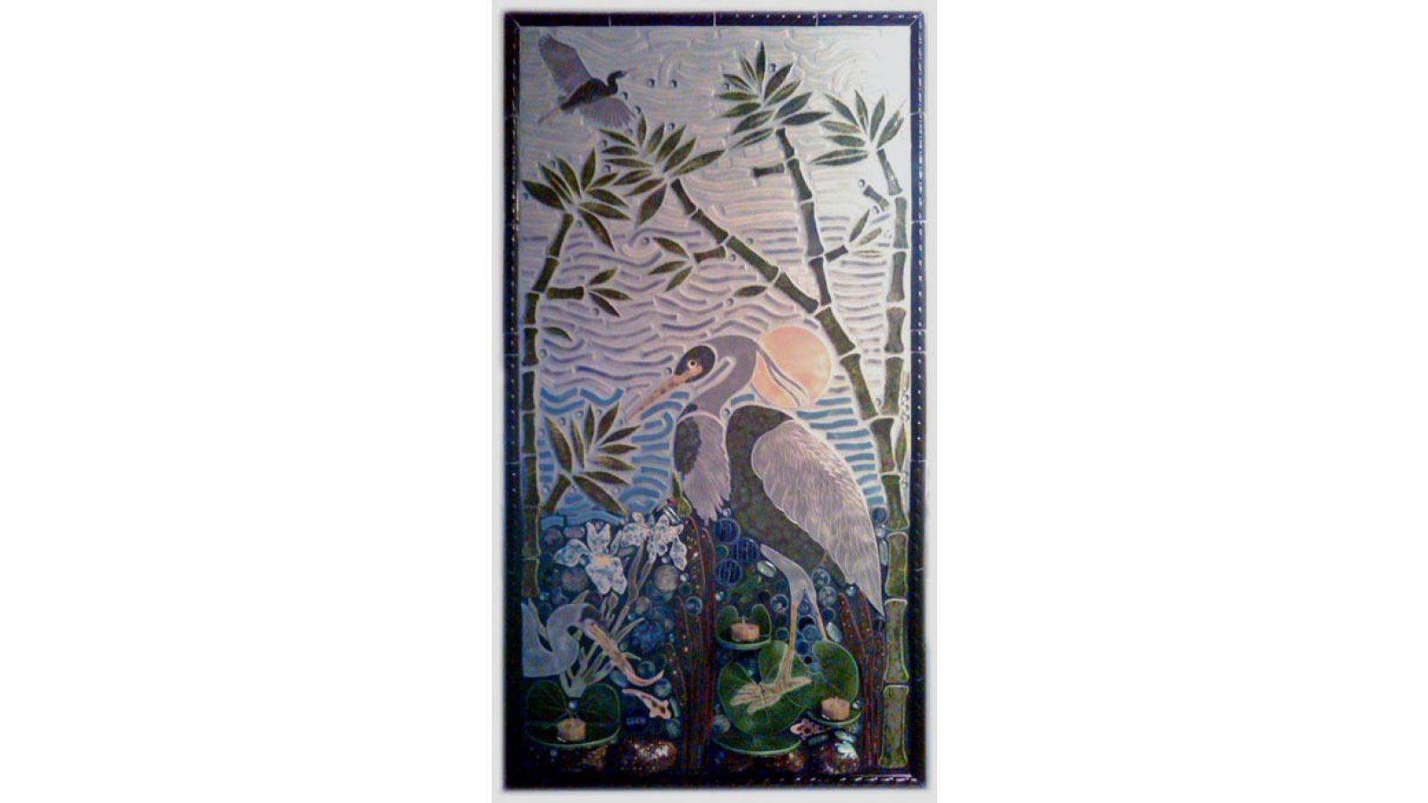 Heron shaped mosaic tile designs