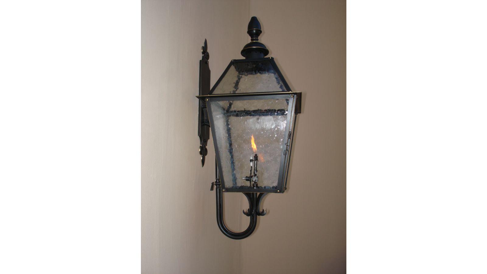 Custom wall mounted gas lantern