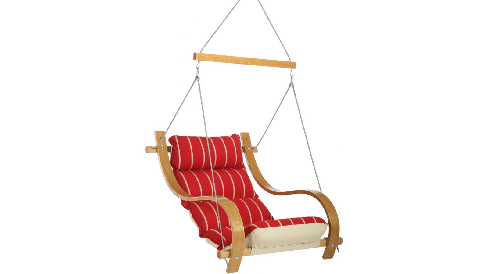 Royal Red Stripe Single Swing With Oak Arms