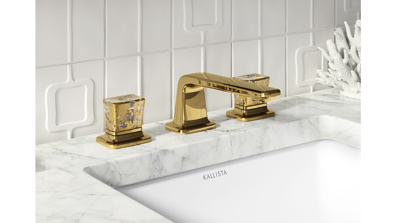 Per Se Decorative Knob Widespread Basin Set