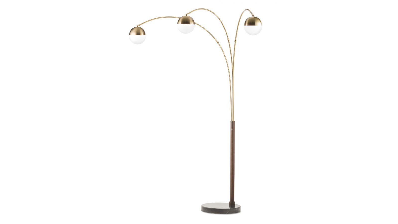 Globe Three Light Arc Lamp Weathered Brass