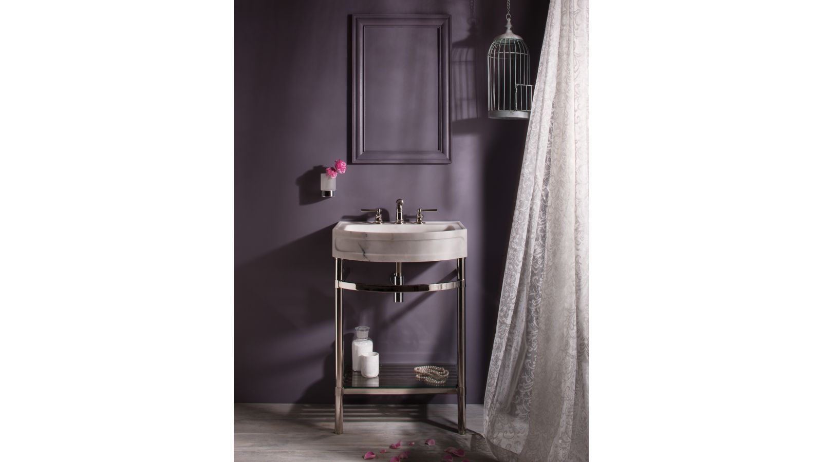 Harbor Washbasin on Polished Nickel Stand