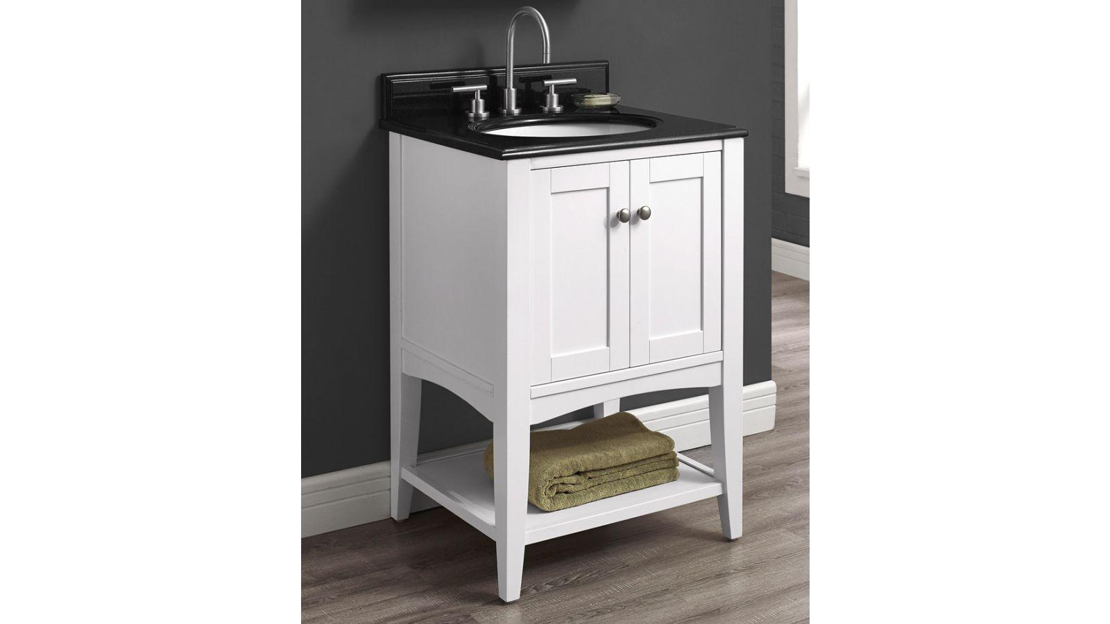 Shaker Americana 24 Open Shelf Vanity - Polar White