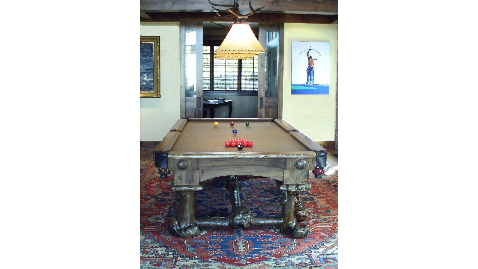 Custom Burl Firehole Snooker Table