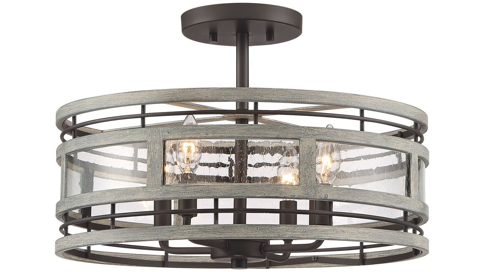 Possini Euro Barnum Gray Wood Bronze Ceiling Light