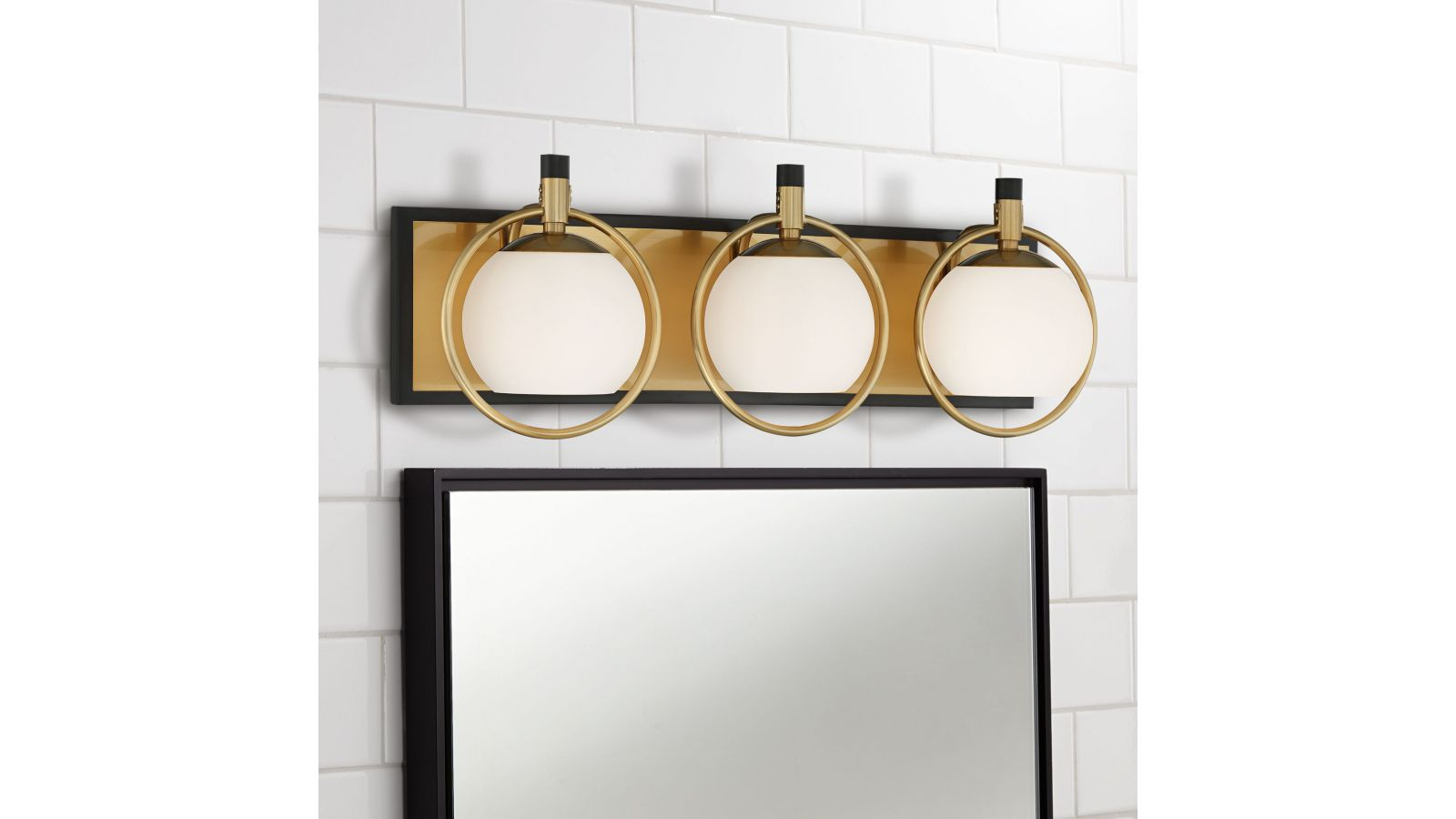Carlyn Warm Antiqued Brass and Black 3-Light Bath Light