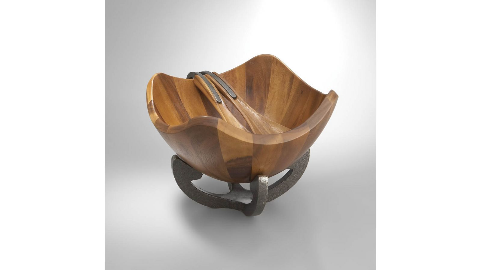 Nambe Scroll Salad Bowl with Servers