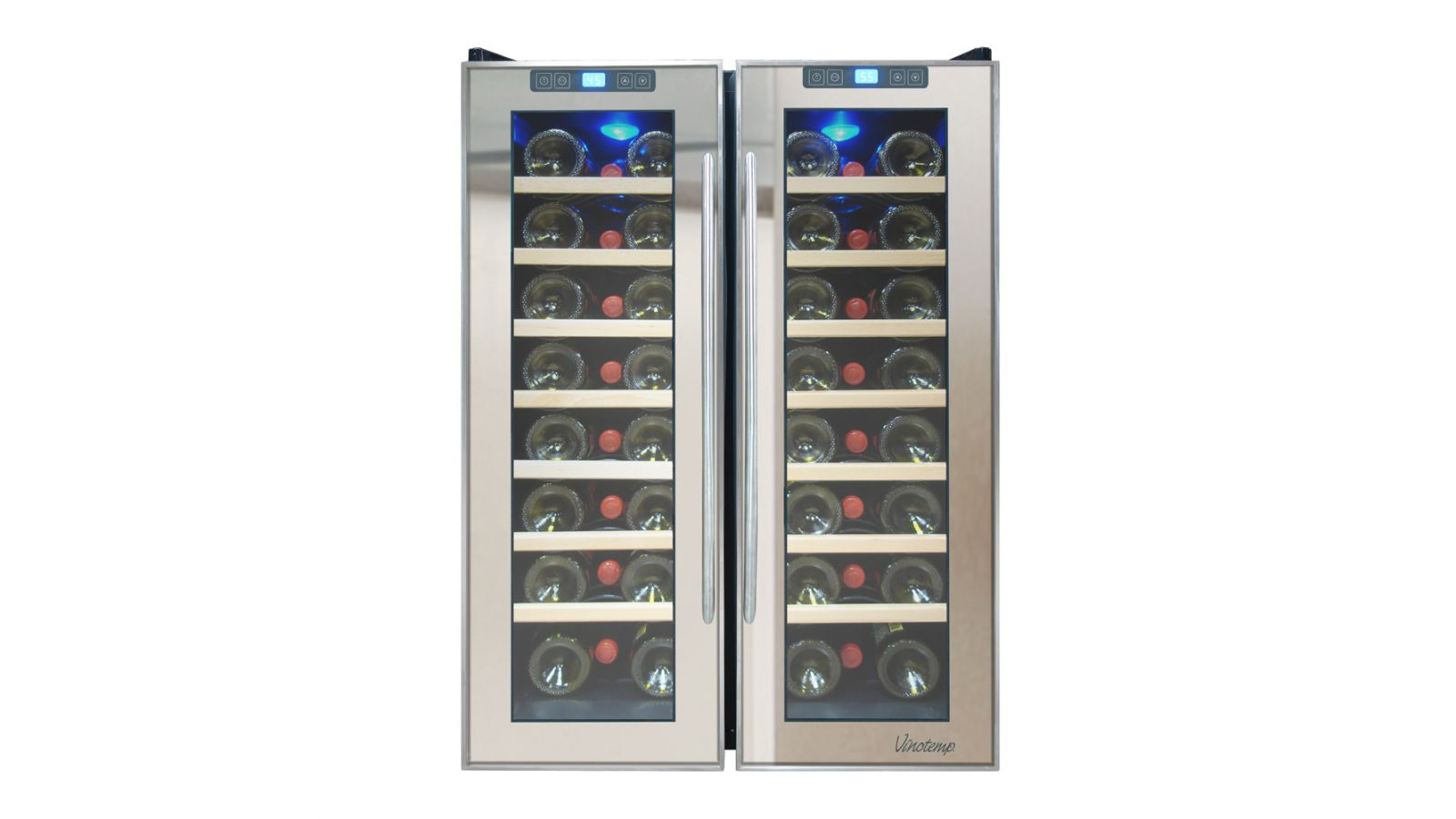 NEW: Vinotemp 48-Bottle Dual-Zone Thermoelectric Mirrored Wine Cooler
