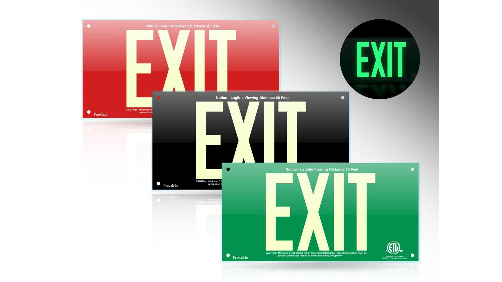 PERMALIGHT® Acrylic Photoluminescent Exit Signs