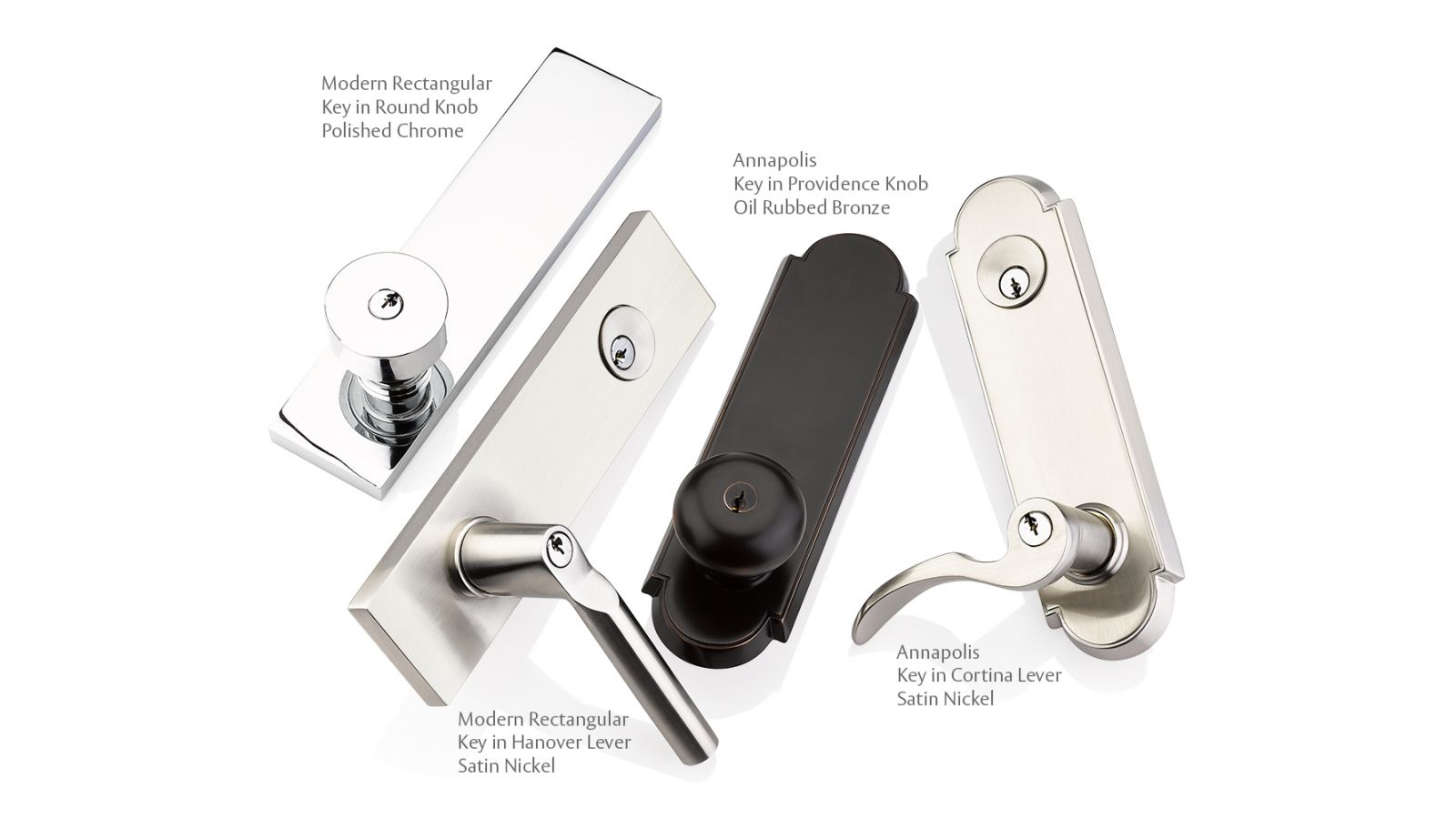 Modern Rectangular and Annapolis single and two point lockset trim styles