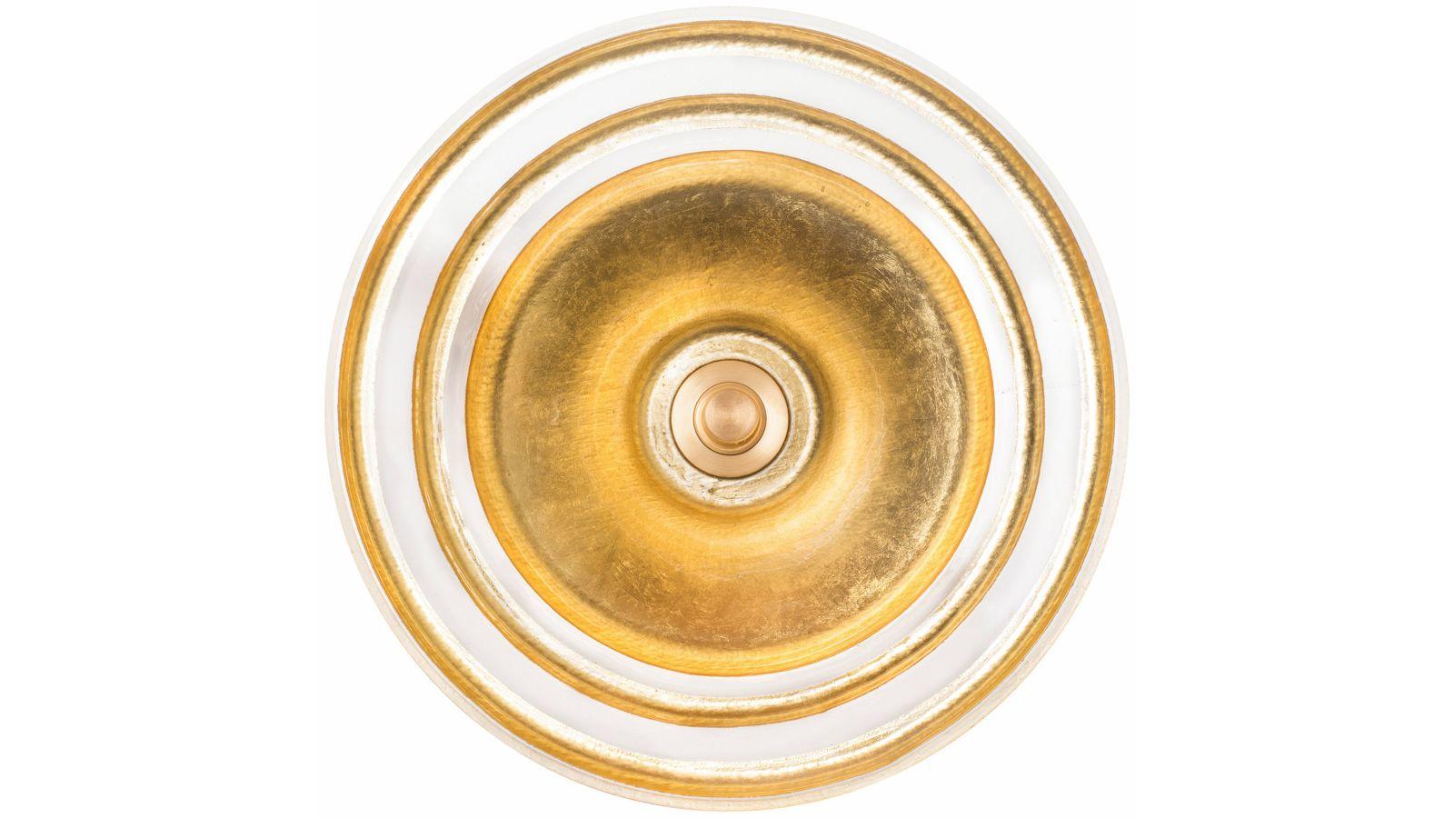 Glass Sink with Gold Leaf Églomisé Band