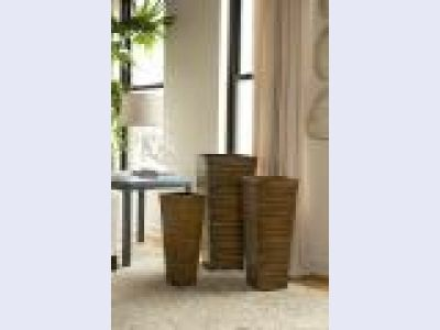 Square pleated faux wood planters