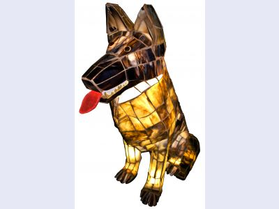 Stained Glass Illuminated German Shepherd
