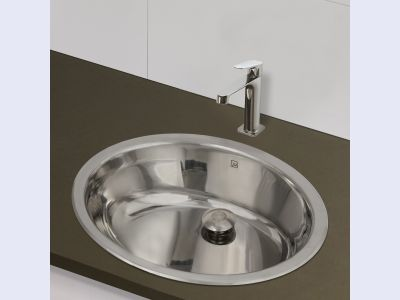 1300 Stainless Steel Undermount Lavatory with Overflow