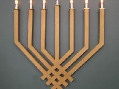 Wall Mount Synagogue Menorah-Woven