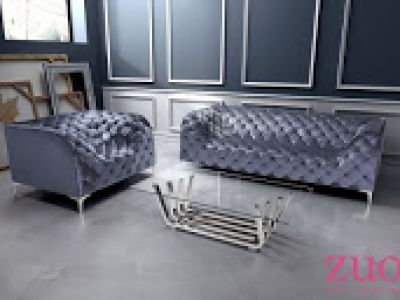 Providence Sofa in Blue Sapphire Velvet