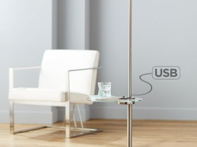 o	Vogue USB Floor Lamp with Tray Table