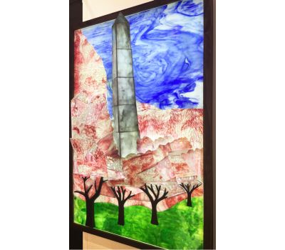 Stained Glass Illuminated Mural: Washington Monument and Cherry Blossoms