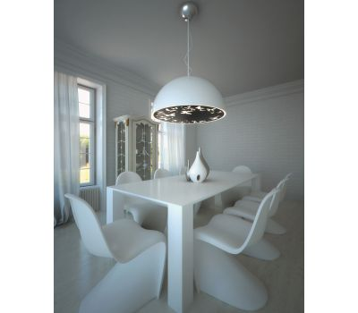 Atitlan Ceiling Lamp White Cap Black Plate