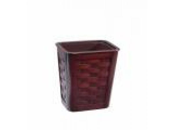 Small Woven Mahogany Wastebasket w/insert1