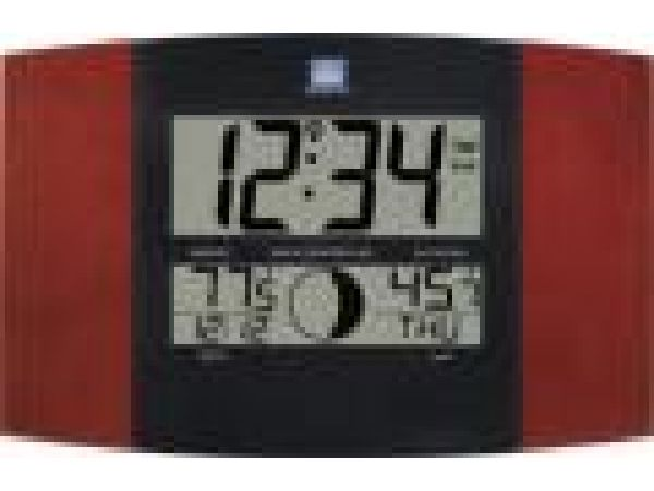 WS-8117TWCAtomic Digital Wall Clock with Moon & IN/OUT Temp