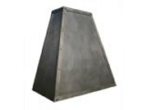 Distressed Steel Pyramid Hood with Rivets, Clavos,