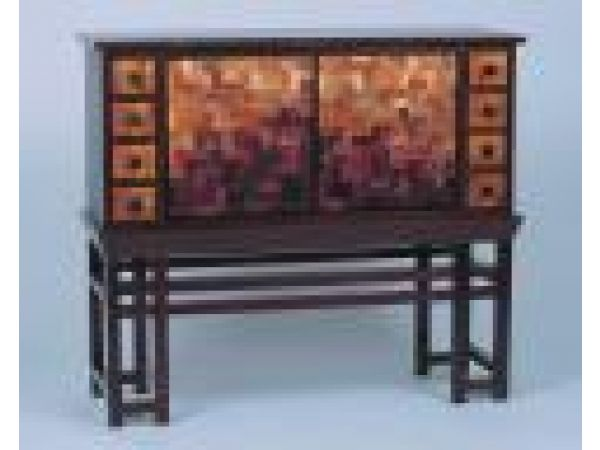 Chest Of Drawers With Red/Gold Silk Façade