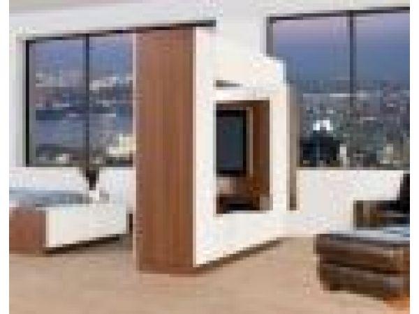 Bronson Swivel Entertainment Wall & Room Divider