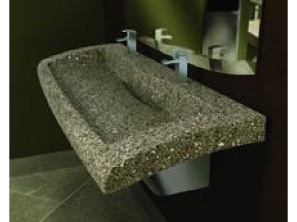 Verge Lavatory System in Evero Dark Natural Quartz