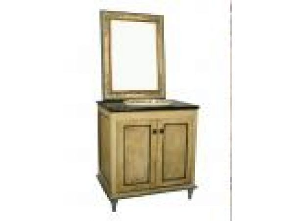 2 Doors Wood Cabinet Distressed Look Beige/Green