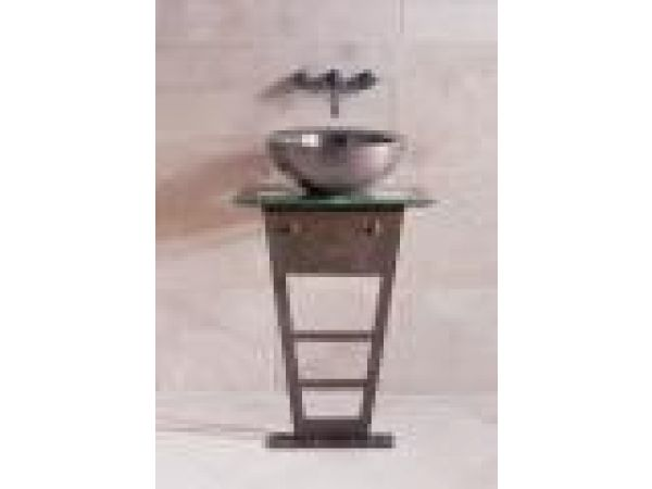 Iron I-Beam Pedestal with Glass Counter