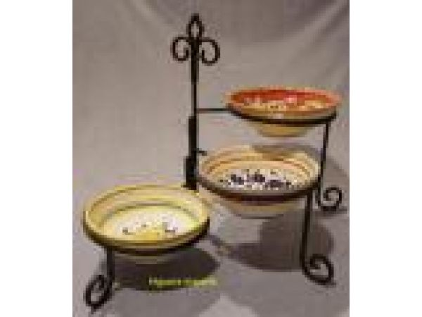 Wrought Iron 3-Tier Plate/Bowl Stand - 1012-Wrought Iron 3-Tier Bowl/Plate Stand