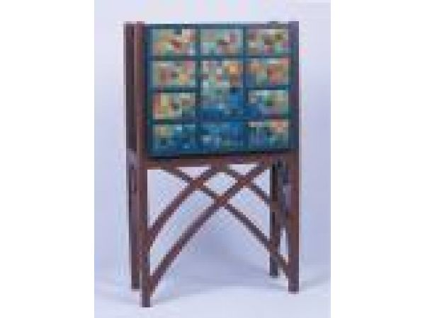 Chest Of Drawers with Blue/Green Silk Façade