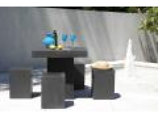 square terrazzo table and stools