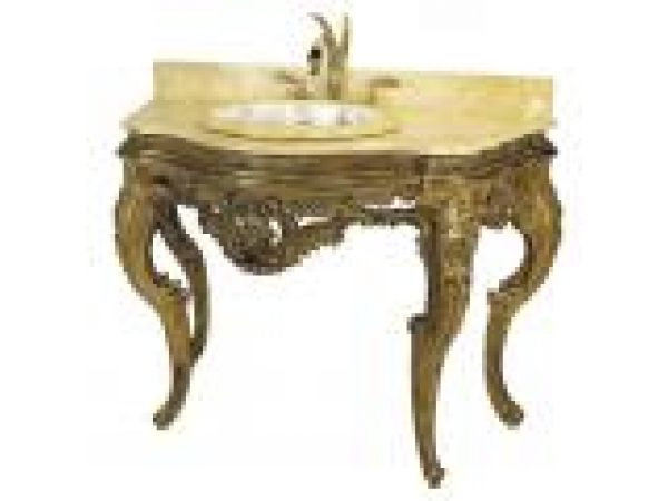 Hand carved French Provencial Vanity Console Gray with Gold/Wax
