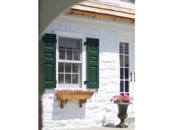 Cedar Shutters with Windowbox