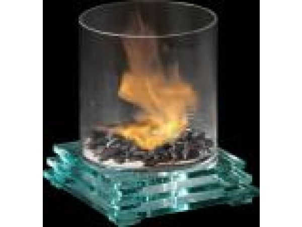 Pyramid GlassFire'© Cylinder With Glass Base Indoor/Outdoor