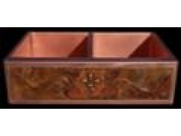 Copper Farm Sink with Embossed Apron
