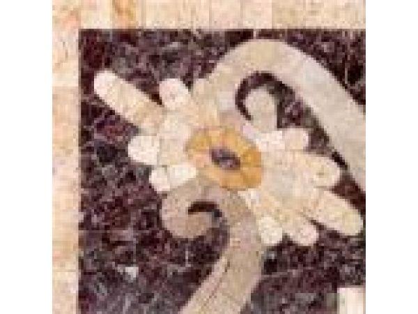 Stone Mosaics-5x5 Fleure Ripple 026 Corner