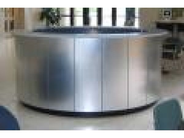 Brushed-Aluminum Circular Reception Desk