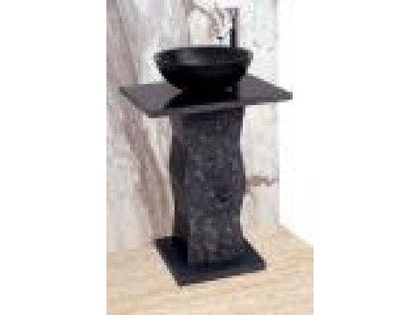 Black Limestone Zigzag Pedestal