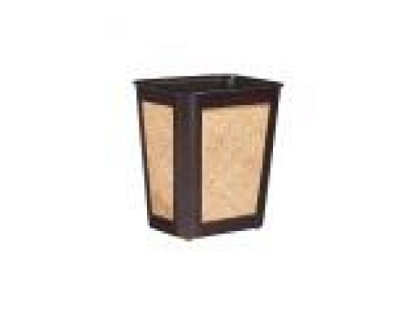 Small Mahogany/Rattan Wastebasket