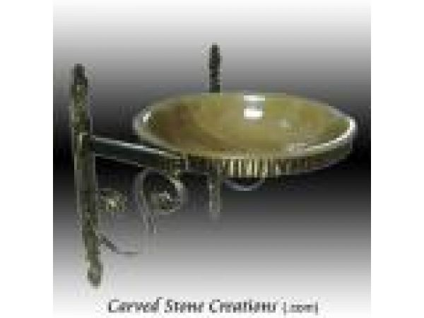 ABS-101, ''Chiseled'' Wrought Iron Wall Mount Vessel Sink Stand