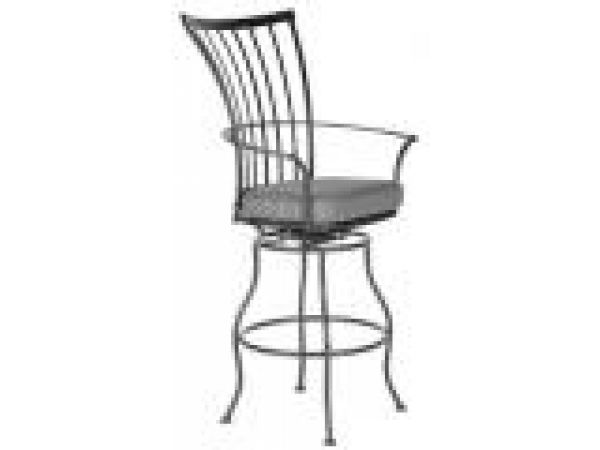 Swivel Barstool With Arms with Seat Cushion
